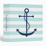 White Blue Mint Anchor and Stripes Vinyl Binders