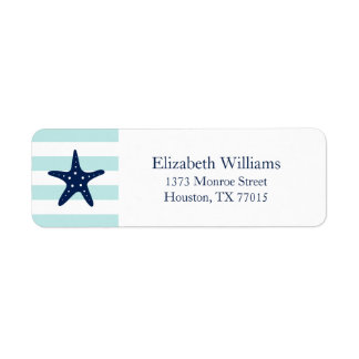 White Blue Mint Stripes Starfish Label