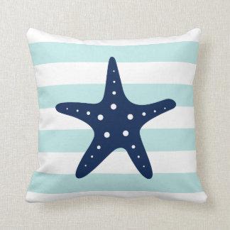 White Blue & Mint Wide Stripes Pattern Starfish Throw Pillow