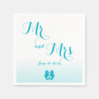 White Blue Mr. and Mrs. Seahorse Wedding Napkins Standard Cocktail Napkin
