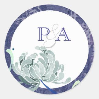 White & Blue Mum Wedding Monogram Favor Sticker