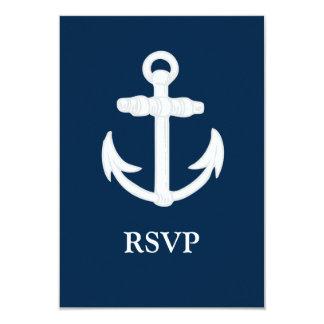 White/Blue Nautical Anchor Symbol 3.5x5 Paper Invitation Card