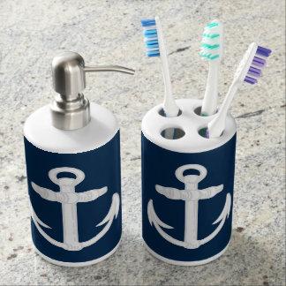 White Blue Nautical Anchor Symbol Bathroom Set