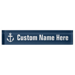 White/Blue Nautical Anchor Symbol Desk Name Plate