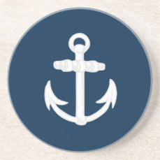 White/Blue Nautical Anchor Symbol Drink Coaster