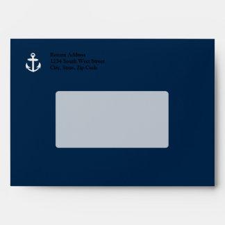 White/Blue Nautical Anchor Symbol Envelope