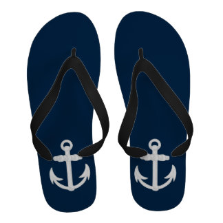 White Blue Nautical Anchor Symbol Flip-Flops