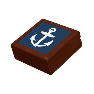 White/Blue Nautical Anchor Symbol Gift Box