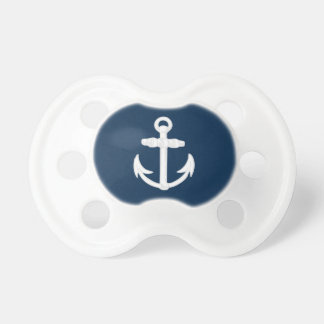 White Blue Nautical Anchor Symbol Pacifiers