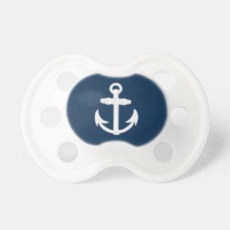 White/Blue Nautical Anchor Symbol Pacifier