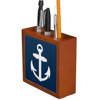 White/Blue Nautical Anchor Symbol Pencil/Pen Holder
