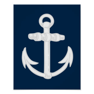 White/Blue Nautical Anchor Symbol Print