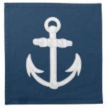 White/Blue Nautical Anchor Symbol Printed Napkins