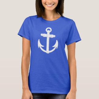 White/Blue Nautical Anchor Symbol T-Shirt