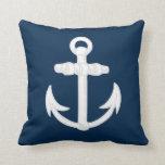 White/Blue Nautical Anchor Symbol Throw Pillow