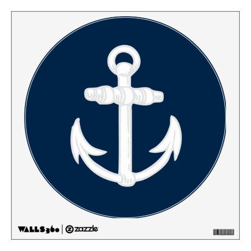 Blue Anchor Wall Decor : White blue nautical anchor symbol wall decor zazzle