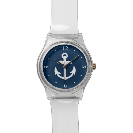 Whiteblue Nautical Anchor Symbol Wristwatch Zazzle