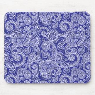 White & Blue Paisley Floral Mouse Pad