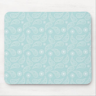 White Blue Paisley Modern Pattern Mouse Pad