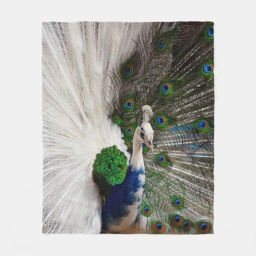 White Blue Peacock Fleece Blanket 50 Quot X60 Quot Zazzle