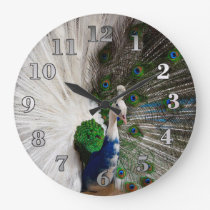 White Blue Peacock Large Clock