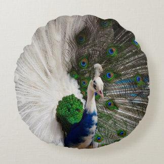 White Blue Peacock Round Pillow