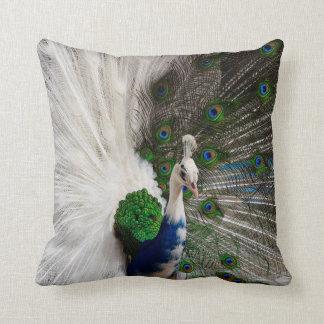 White Blue Peacock Throw Pillow