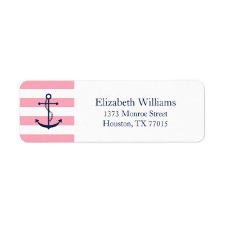 White Blue Pink Anchor and Stripes Label