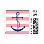 White Blue Pink Anchor and Stripes Postage