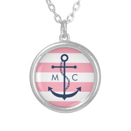 White Blue Pink Monogram Stripes Anchor Custom Necklace