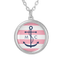 White Blue Pink Monogram Stripes Anchor Round Pendant Necklace