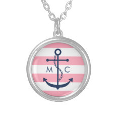 White Blue Pink Monogram Stripes Anchor Silver Plated Necklace at Zazzle