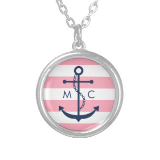 White Blue Pink Monogram Stripes Anchor Silver Plated Necklace