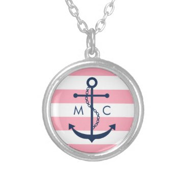 heartlocked White Blue Pink Monogram Stripes Anchor Silver Plated Necklace