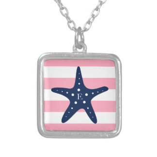 White Blue Pink Monogram Stripes Starfish Silver Plated Necklace