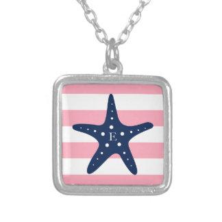 White Blue Pink Monogram Stripes Starfish Square Pendant Necklace