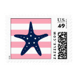 White Blue Pink Starfish and Stripes Postage