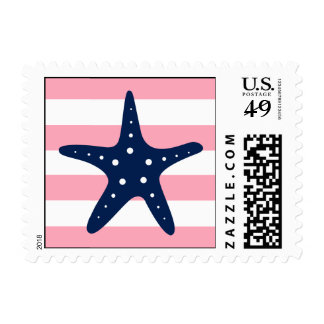 White Blue Pink Starfish and Stripes Stamps