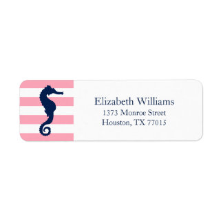 White Blue Pink Stripes Seahorse Label