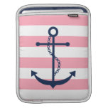 White Blue & Pink Wide Stripes Pattern Anchor Sleeves For iPads