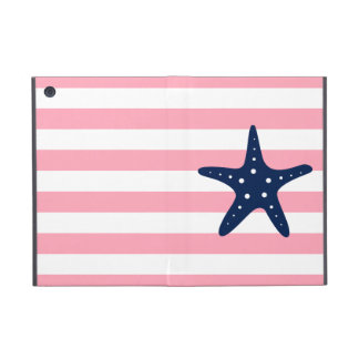 White Blue & Pink Wide Stripes Pattern Starfish Cover For iPad Mini