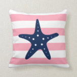 White Blue & Pink Wide Stripes Pattern Starfish Pillow