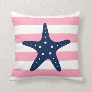 White Blue & Pink Wide Stripes Pattern Starfish Throw Pillow