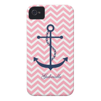 White Blue & Pink Zigzag Pattern Anchor iPhone 4 Case