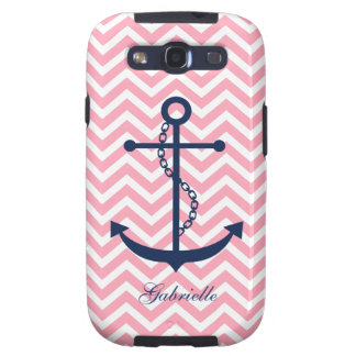 White Blue & Pink Zigzag Pattern Anchor Galaxy SIII Cases