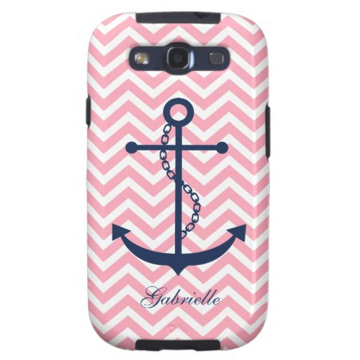 White Blue & Pink Zigzag Pattern Anchor Samsung Galaxy S3 Covers
