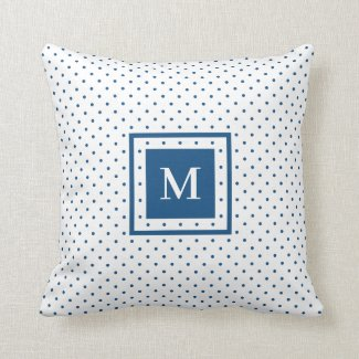 White Blue Polka Dot Pattern with Modern Monogram Throw Pillow