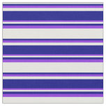 [ Thumbnail: White, Blue & Purple Colored Pattern Fabric ]