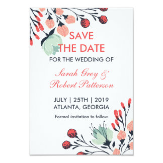 White Blue Red Vintage Flower Save The Date Card