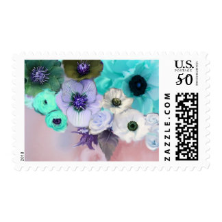 WHITE BLUE ROSES AND ANEMONE FLOWERS IN PINK POSTAGE